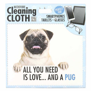 Pug gift Screen, Phone or Glasses cleaning microfibre cloth