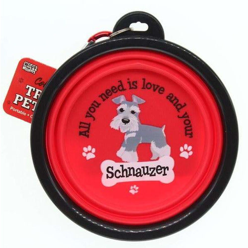 Schnauzer Collapsible Travel Dog Bowl Gift - The Pet Vault