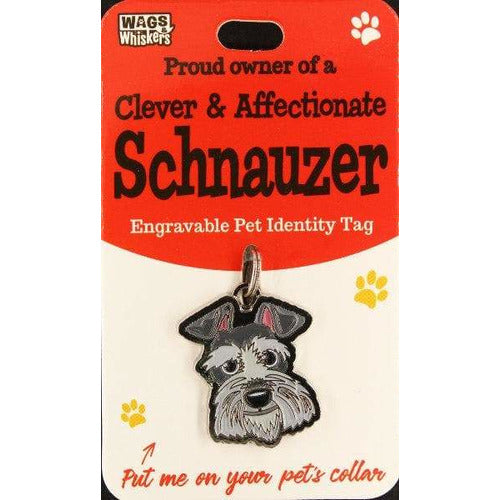 Schnauzer Dog ID Tag Charm Gift for Schnauzer Lovers by Wags and Whiskers - The Pet Vault