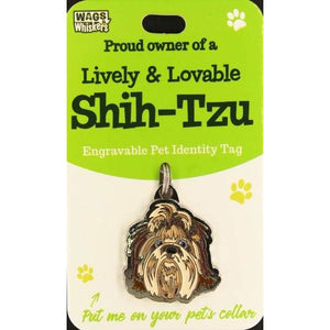 Shih Tzu Dog ID Tag Charm Gift for Shih Tzu Lovers by Wags and Whiskers - The Pet Vault