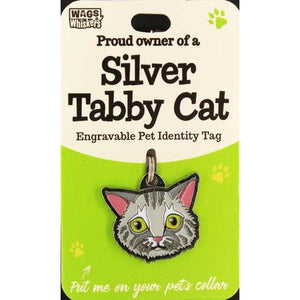 Silver Tabby Cat ID Tag Charm Gift for  Cat Lovers - The Pet Vault
