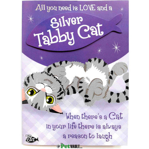 Silver Tabby Cat (Laying Down) Gift Greeting Card - The Pet Vault