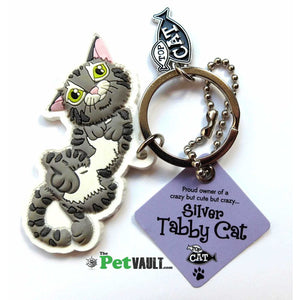 Silver Tabby Cat (Laying Down) Gift Keyring - The Pet Vault
