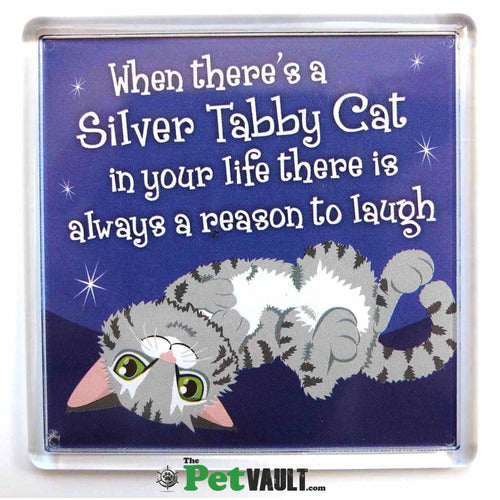 Silver Tabby Cat (Laying Down) Gift Magnet - The Pet Vault