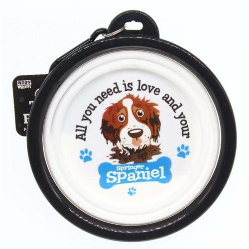 Springer Spaniel Collapsible Travel Dog Bowl Gift - The Pet Vault