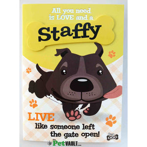 Grey / Blue Staffy Gift Greeting Card - The Pet Vault