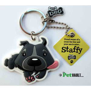 Staffordshire Bull Terrier Staffie Dog Pewter Keyring with Gift Pouch