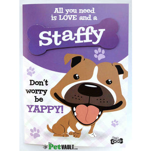 Brown / Red Staffy Gift Greeting Card - The Pet Vault