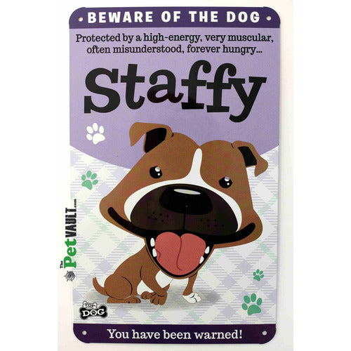 Brown / Red Staffy Gift Sign - The Pet Vault
