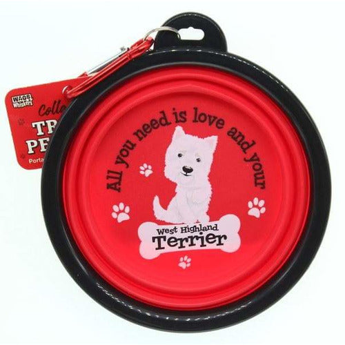West Highland Terrier Collapsible Travel Dog Bowl Gift - The Pet Vault