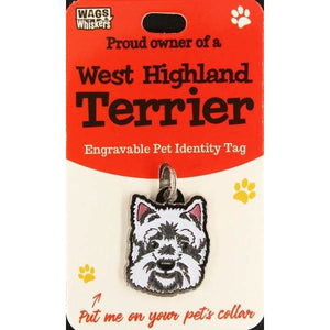 Westie Dog ID Tag Charm Gift for West Highland Terrier Lovers by Wags and Whiskers - The Pet Vault
