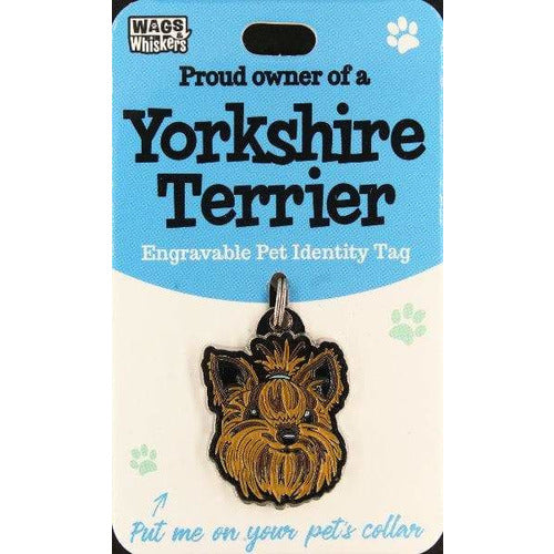 Yorkshire Terrier Dog ID Tag Charm Gift for Yorkie Dog Lovers by Wags and Whiskers - The Pet Vault