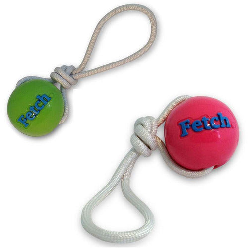 planet dog orbee-tuff ball with rope dog toy in two colours - thepetvault