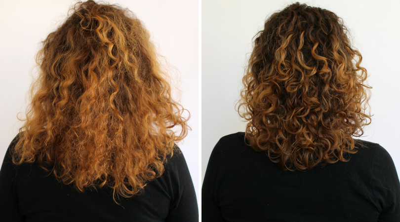 Curly hair before and after Controlled Chaos