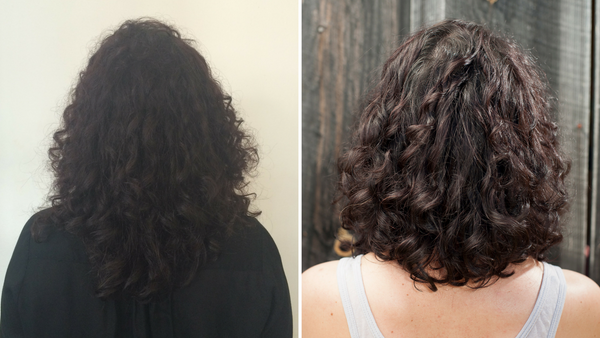 Before and After Controlled Chaos curly hair cut