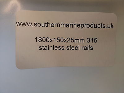 Pair of 1800mm long 150mm high 19mm 316 Stainless Steel Boat Grab  Rails/Handles