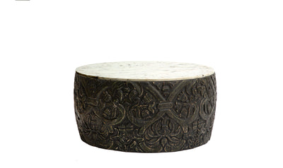 Ethos Carved Round coffee tables with White Marble Top-coffee tables-Modarte-Jennifer Furniture