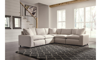 Savest 5pc Sectional-sectionals-Ashley-Ivory-No Ottoman-Jennifer Furniture