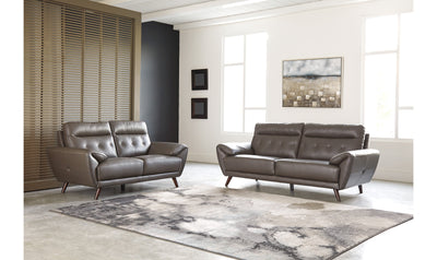 Sissko Living Room Set-living room sets-Ashley-Sofa +Loveseat-Gray-No Sleeper-Jennifer Furniture