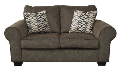 Nessa Loveseat-Loveseats-Ashley-Walnut-No Sleeper-Jennifer Furniture