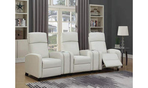 Abbey White Faux Leather Home Theater Set