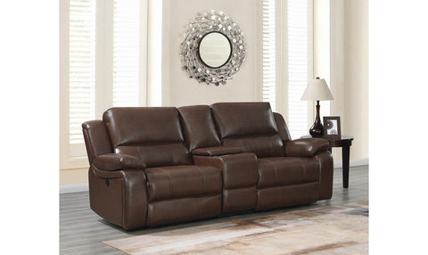 Catanzaro Mahogany Power Reclining Console Loveseat w/ Adjustable Headrests