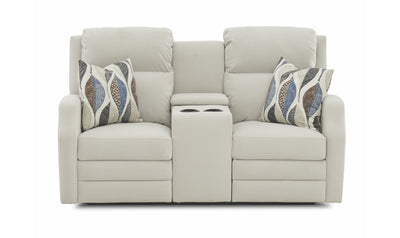 Kami Power Console Loveseat-loveseats-Klaussner-White-Fabric-Jennifer Furniture