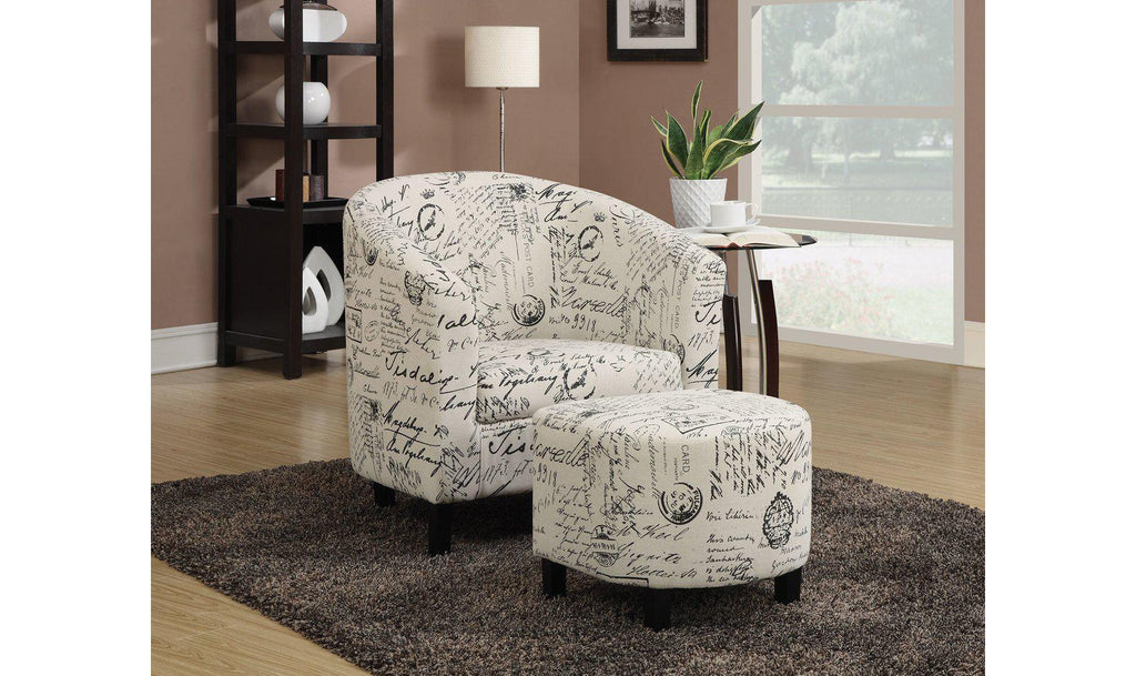 ACCENT CHAIR/OTTOMAN (OFF WHITE FRENCH SCRIPT PATTERN) ...
