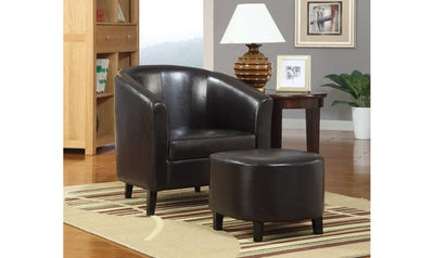ACCENT CHAIR/OTTOMAN (DARK BROWN)-Jennifer Furniture