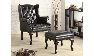 Accent Chair/Ottoman (BLACK)-Jennifer Furniture