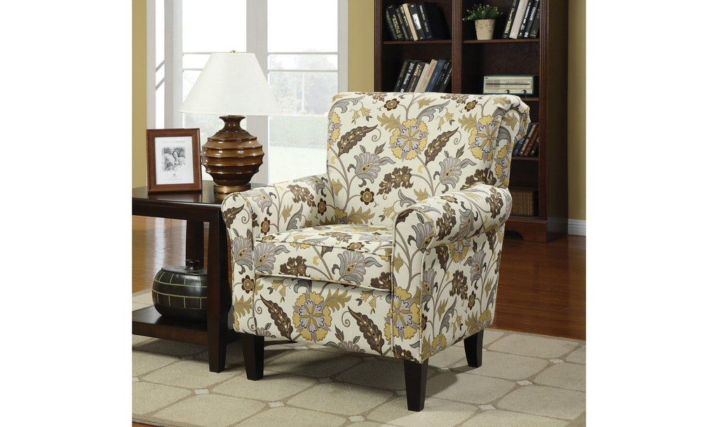 ACCENT CHAIR (CREAM/GREEN)-Jennifer Furniture