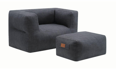 OTTOMAN AND CHAIR (GREY)-Jennifer Furniture