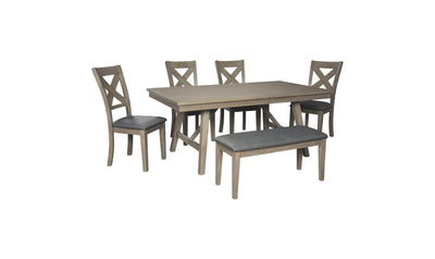 Aldwin Gray Rectangular Dining Set-dining sets-Ashley-Jennifer Furniture