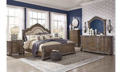 Charmond Upholstered Sleigh Bedroom Set-bedroom sets-Ashley-King-Bed + 2 Nightstands + Dresser + Mirror + Chest-Jennifer Furniture