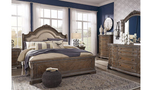 Charmond Brown Upholstered Sleigh Bedroom Set
