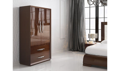 Carmen Walnut 2 Door Wardrobe Set-wardrobes-ESF-Jennifer Furniture