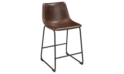 Centiar Upholstered Barstool (Pair)-barstools-Ashley-Brown / Black-Jennifer Furniture