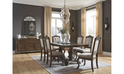 Charmond Dining Set-dining sets-Ashley-Table + 4 Side Chairs + 2 Arm Chairs-Buffet-Jennifer Furniture