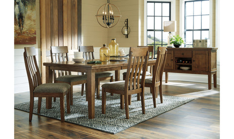 Zora Dark Brown Beige Wood 7pc Dining Room Set