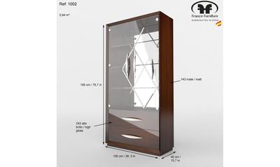 Carmen Curio Display Cabinet-cabinets-ESF-4 Door-Walnut Brown-Jennifer Furniture