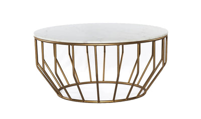 Golden Leaf coffee tables with White Marble Top-coffee tables-Modarte-Jennifer Furniture