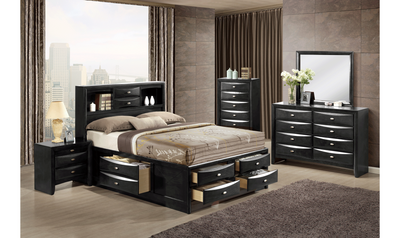 Linda Bedroom Set-bedroom sets-Global-Black-King-Bed + 2 Nightstands + Dresser + Mirror + Chest-Jennifer Furniture