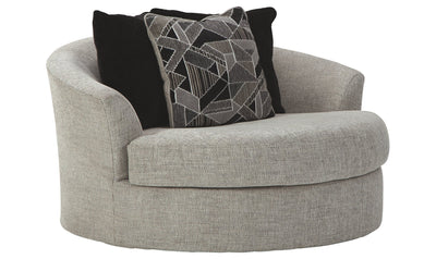 Megginson Oversized Round Swivel Chair-accent chairs-Ashley-Jennifer Furniture