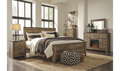 Trinell King-Size Bedroom Set-bedroom sets-Ashley-Bed + Nightstand + Dresser-Dresser with Fireplace Option-Jennifer Furniture
