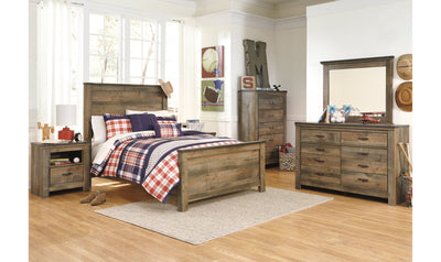 Trinell Full-Size Bedroom Set-bedroom sets-Ashley-Panel-None-Bed + Nightstand + Dresser + Mirror + Chest-Jennifer Furniture