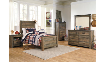 Trinell Twin-Size Bedroom Set-bedroom sets-Ashley-Panel-None-Bed + Nightstand + Dresser + Mirror + Chest-Jennifer Furniture
