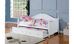TWIN DAYBED WITH TRUNDLE (WHITE)-Jennifer Furniture
