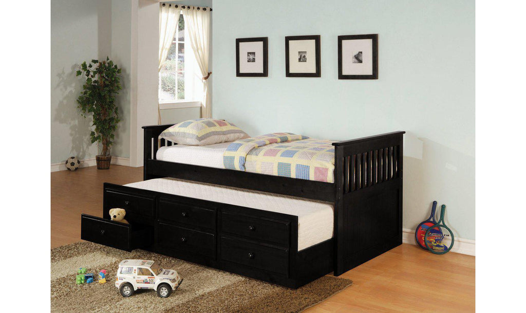 DAYBED WITH TRUNDLE (BLACK)-Jennifer Furniture