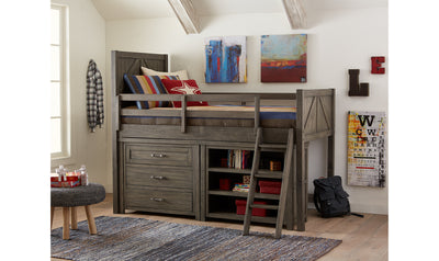 Bunkhouse Complete Mid Loft Bed with Single Dresser and Bookcase, Twin-beds-Legacy Classic Furniture-Jennifer Furniture