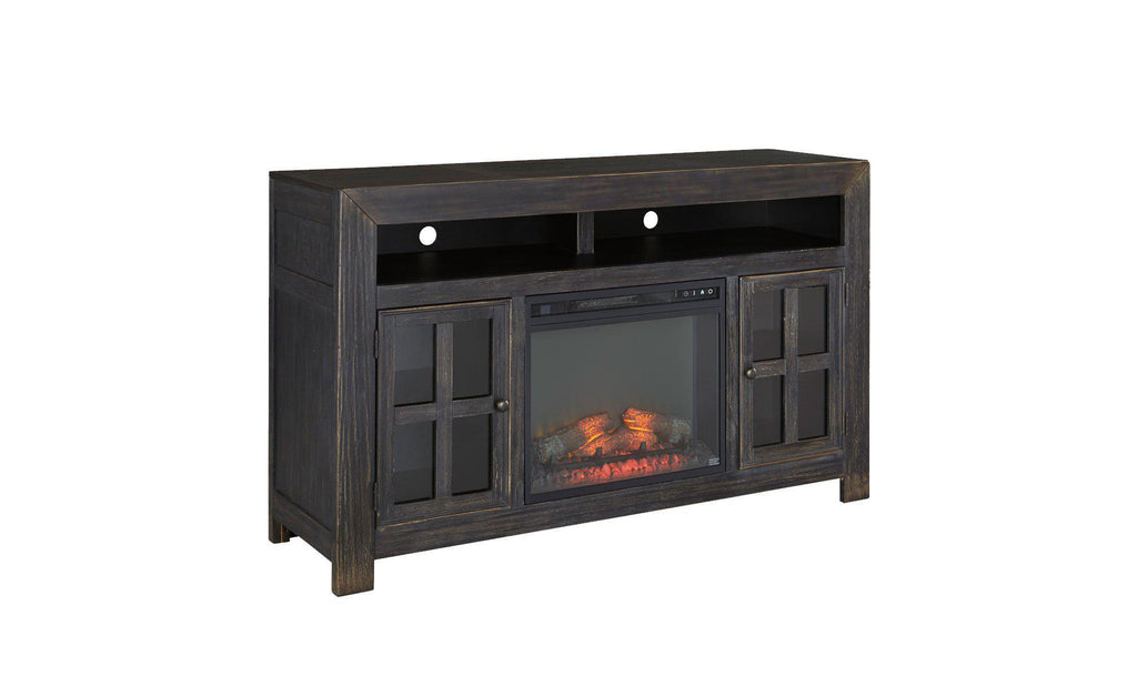 Wooden Dark Brown T.V stands with Fireplace Insert